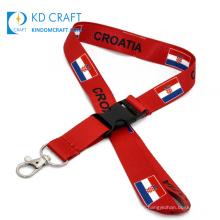 Wholesale custom design logo sublimation printing croatia national international country flag lanyard lot for sale