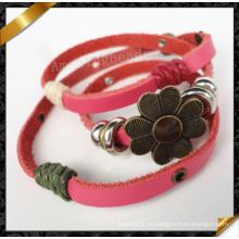 Pulsera de cuero rosa, pulseras de cuero hechas a mano real de moda y pulsera de cuero (fb0106)