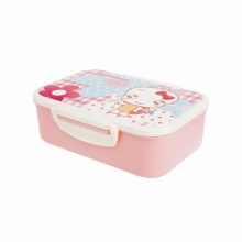 Plastic Lunch Box Flower Printed Rectangle Shape