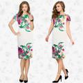 Europe High Fashion Design Ladies Short Sleeve Traditional Dress Slim Fit Printed Flower Round Neck Women Frock Dress