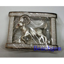 Chinese Zodiac Goat CZ Sterling Silver Belt Buckle for Man