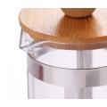 Френч-пресс с бамбуковой крышкой, стеклянный кофейник