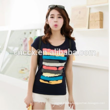 2014 laides printing t shirt cotton knitted t-shirt