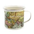 Taza de café de la lata del esmalte del mapa del mundo con el diseño del OEM y el borde del ss para el regalo