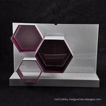 White and Red Makeup Acrylic Display Stand with Hexagon Shape