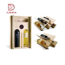 Boa qualidade logotipo personalizado caixa de embalagem de vidro de vinho descartável