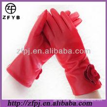 Original de color rojo ovejas cuero guante de invierno