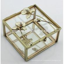 Hermosa caja de joyas de cristal con metal rosa para regalos de boda y favores de la decoración