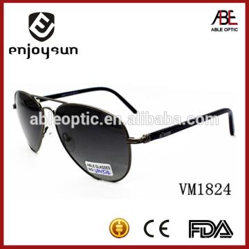Óculos de sol unisex de metal preto de alta qualidade de alta qualidade com UV400