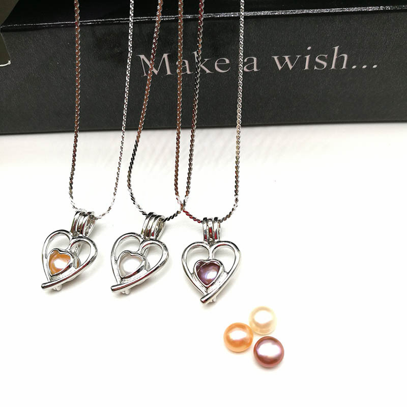 Heart Style Cage Pendant Pearl Beads Necklace