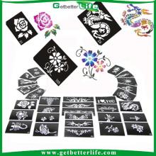 200 pièces mixé dessins paillettes tatouage temporaire pochoirs pochoirs /glitter tatouage pochoirs de tatouage gros