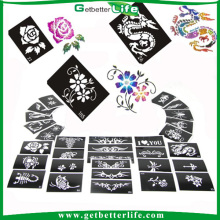 200 pieces mixed designs glitter tattoo stencils/temporary tattoo stencils /glitter tattoo stencils wholesale