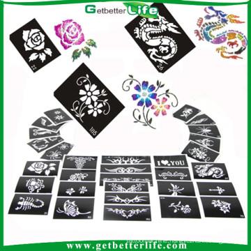 200 pieces mixed designs glitter tattoo stencils/temporary tattoo stencils /glitter tattoo stencils wholesale
