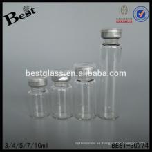 Frasco de vidrio tubular químico de 3/4/5/7 / 10ml con el casquillo de aluminio, botella de cristal vacía del tubo, proveedor cosmético de la botella