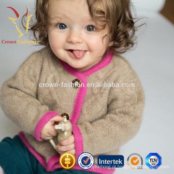 O bebê macio veste bolsos de roupas infantis Cardigans de caxemira bonitos com botão
