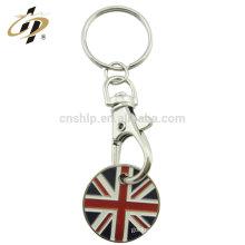 Llavero de encargo de la moneda de la bandera del metal de Gran Bretaña de la aleación del cinc con el esmalte