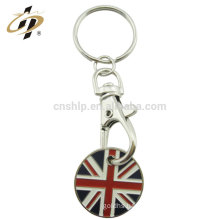 Custom zinc alloy Britain metal flag coin key chain with enamel