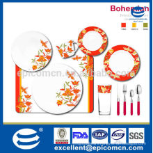 pattern bright red and orange flower with leaves and birds design ceramic serving dishes with cup and cutlery