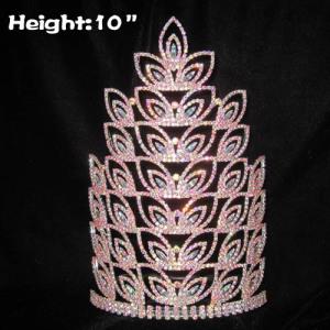 Coronas de reina de cristal de diamantes de imitación al por mayor de 10 pulgadas