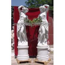 Tallada de mármol estatua de piedra tallada decoración de jardín de escultura (sy-x1116)
