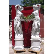 Резные мраморные статуи камень резьба скульптуры сада украшения (SY-X1116)
