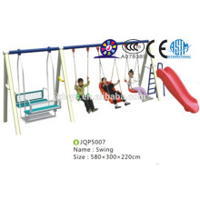 Kids garden cheap plastic and metal material slide with swing set