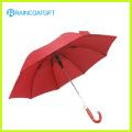 Guarda-chuva reto de publicidade vermelho ao ar livre