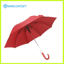 Paraguas recto publicitario rojo al aire libre