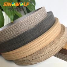 Accesorio para muebles Bandas de borde de grano de madera ABS de 3 mm