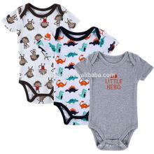 Neues Design gedruckt Dinosaurier Affe Strampler Baby Overall Playsuit Kurzarm-Strampler Sommer Baby Strampler