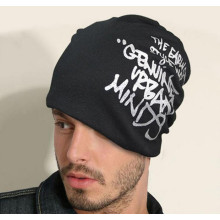 Fashion printed design cotton winter beanies men skullcap