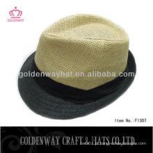 Chapéu de Fedora de palha trança bege de verão para homens Mulheres