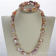 Snh barroco forma AAA calidad auténtica joyas de perlas conjunto
