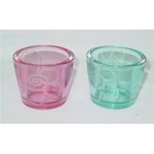 En forma de V de vidrio transparente de color Votive titular de decoración para el hogar