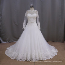 Véritable échantillon sirène champagne luxuriant puff robe arabe robe de mariée