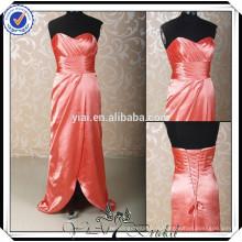 PP0166 frente aberto organza vermelho china Vestidos baratos de dama de honra 2015