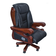 Executive Espresso Eco cadeira de couro com braços e moldura de madeira (FOH-8889B)
