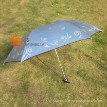 Farbe Klebstoff 4 Falten Regenschirm mit Druck (YSF4013B)