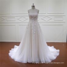 Perlen 3D Blumen Spitze Neueste Brautkleid