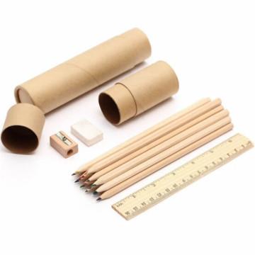 Lápiz de madera 12 colores plomo con borrador sacapuntas y regla