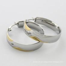 Novo design clássico impressionante brinco de aço inoxidável hoop para mulheres