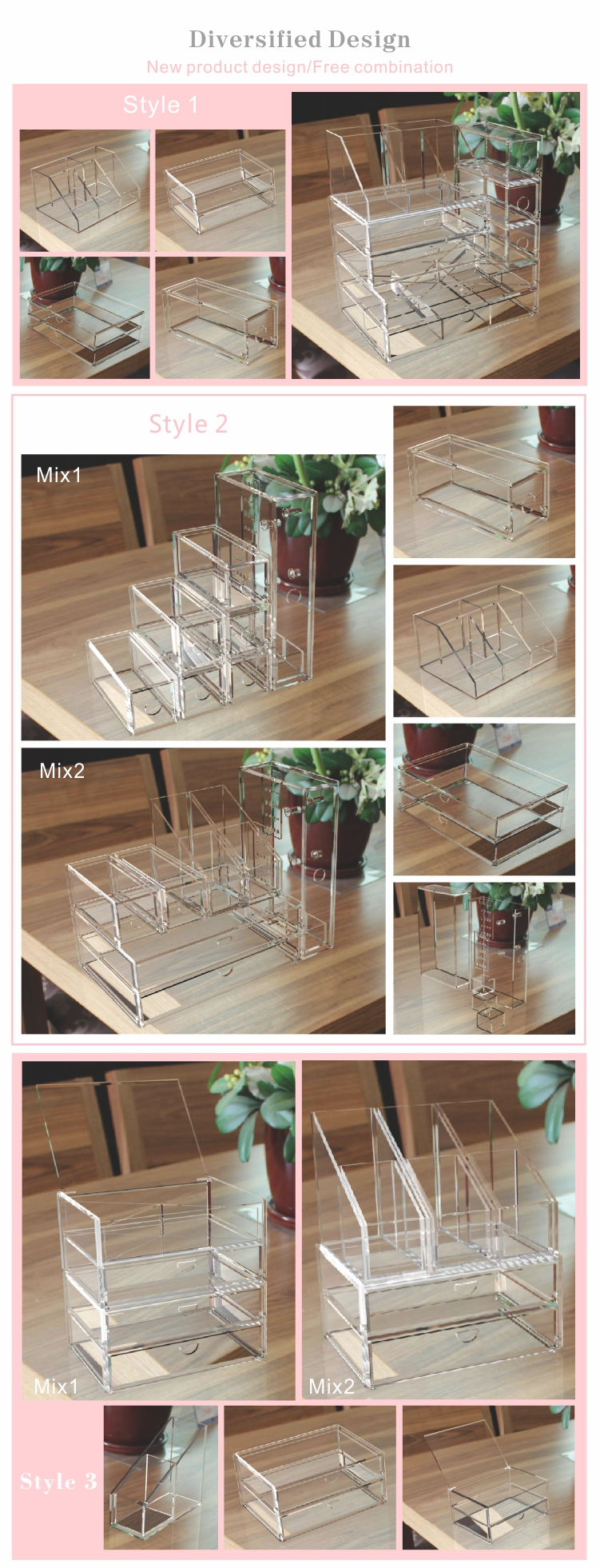 Acrylic cosmetic drawer organizer