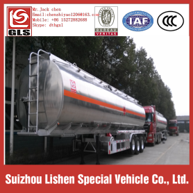 3 axles 42 cbm aluminum fuel tanker semi trailer