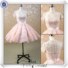JJ3505 manches courtes perlées en dentelle Puffy robe de mariée courte sexy 2013