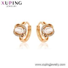 97042 xuping brincos de argola de cobre banhado a ouro ambiental para mulheres