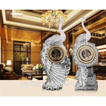 Hotel Retro customization high-end decoration resin peacock clocks for sale