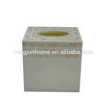 Produit de coquille de nacre Chapeau d'eau douce chinois Boîte de tissu carré de couleur naturelle