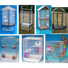 Bird Cage with Stainless Steel or Food-Grade Plastic Dishes and Interior Wood Perch, Bird Proof Latches and Swing-out Feeder Doors (D1)