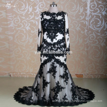 RSW1310 Long Sleeve Two Piece Black Muslim Bridal Wedding Dress