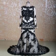 RSW1310 manga comprida dois pedaços preto muçulmano vestido de casamento nupcial